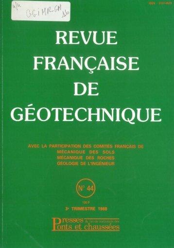 Télécharger le numéro complet - Géotechnique Francophone