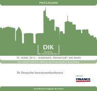 10. Deutsche Investorenkonferenz - Finance Magazin