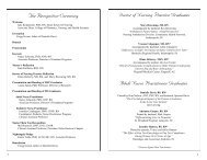 program for the ceremony is available here - School of Nursing