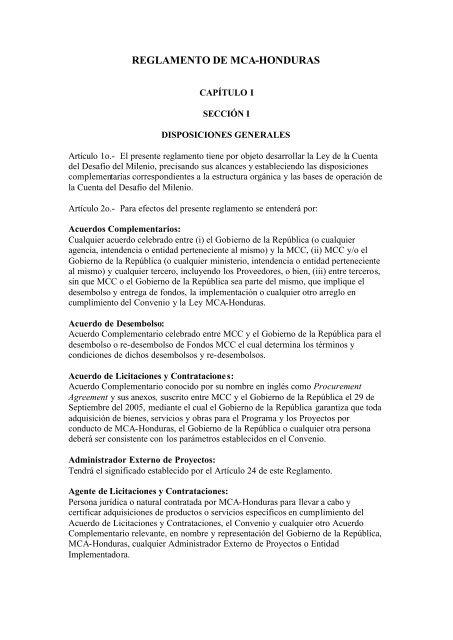 Acuerdo De Reglamento Gobernante Cuenta Del Milenio Honduras