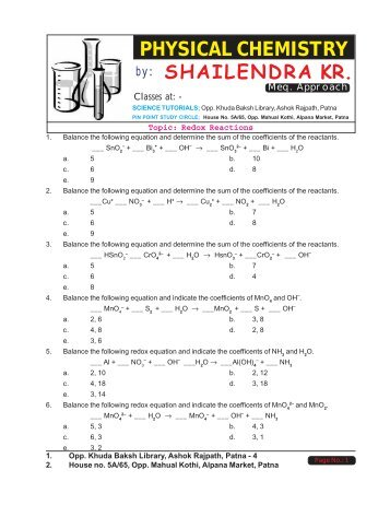 redox reactions assessed homework
