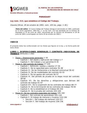 Código del Trabajo de Paraguay - Sigweb
