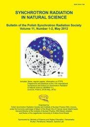 synchrotron radiation in natural science - Polskie Towarzystwo ...