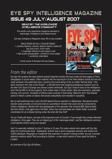 From the editor - Eye Spy Intelligence Magazine