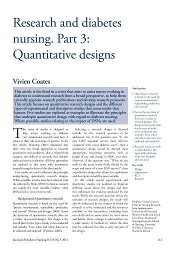 Types of quantitative research designs in nursing