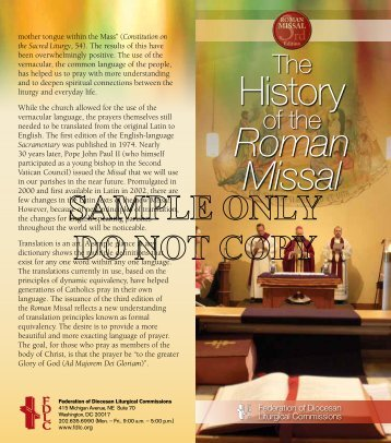 History Roman Missal - Federation of Diocesan Liturgical ...
