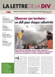 La Lettre de la DIV - n°108 - Délégation interministérielle à la ville