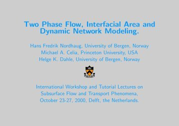 Two Phase Flow, Interfacial Area and Dynamic Network Modeling.