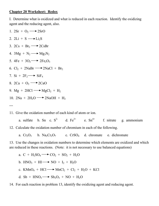 {Redox Worksheet Worksheets For School pigmu – Chapter 20 Worksheet Redox