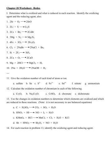 Printables Redox Worksheet collection of chapter 20 worksheet redox bloggakuten