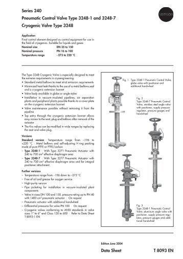 Series 240 Pneumatic Control Valve Type 3248-1 ... - Rencor Controls