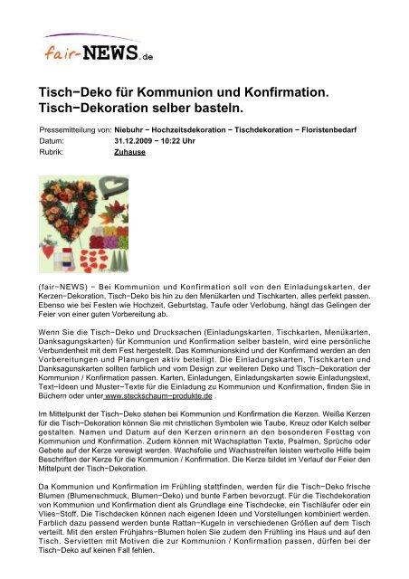 Pdf Fair Newsde Tisch Deko Für Kommunion Und