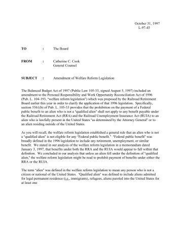 Amendment of Welfare Reform Legislation - U.S. Railroad ...