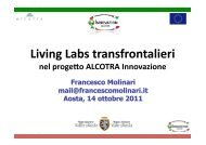 Living Labs transfrontalieri nel progetto Alcotra Innovation