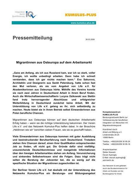 Pressemitteilung vom 26.März 2008 - KUMULUS-PLUS