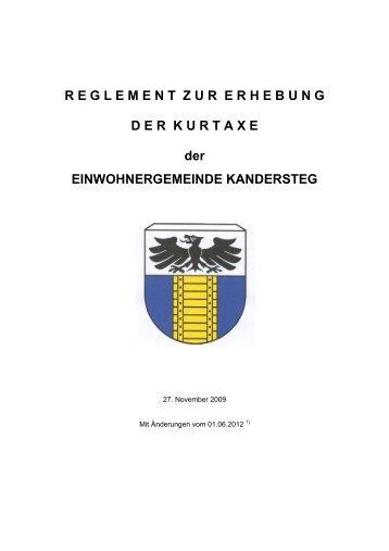 Grundlage für Reglemente - Einwohnergemeinde Kandersteg