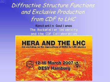 HERA and the LHC, DESY, Hamburg, Germany, 12-16 Mar 2007