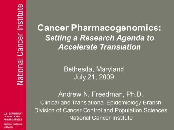 Cancer Pharmacogenomics - Epidemiology & Genomics Research ...
