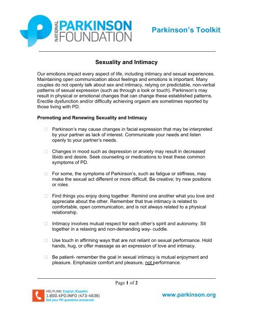 Sexuality and Intimacy - Parkinson's Toolkit