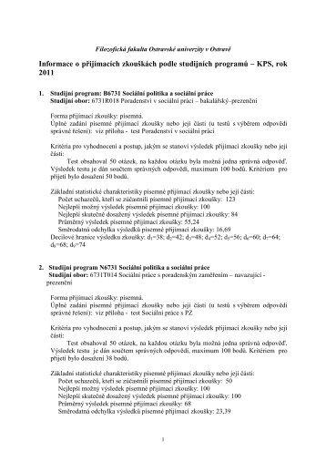 Informace o přijímacích zkouškách podle ... - Filozofická fakulta