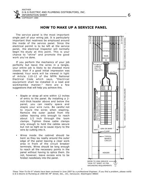 How To Make Up A Service Panel Grover Electric And