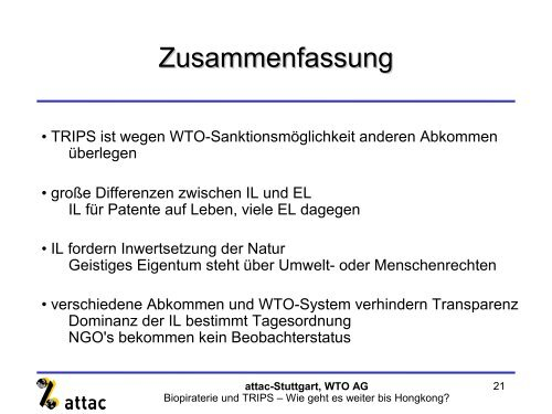 3. TRIPS im Spannungsfeld verschiedener Abkommen - attac Marburg