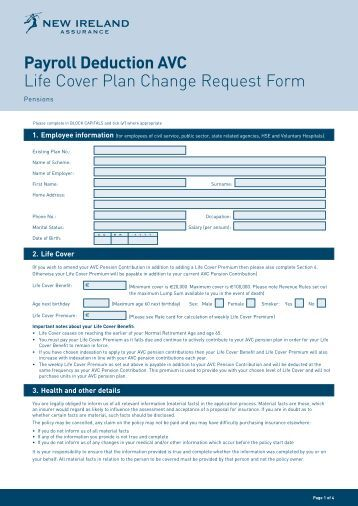 Payroll Deduction AVC Life Cover Plan Change Request Form