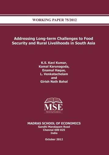 Addressing Long-term Challenges to Food Security and Rural ...