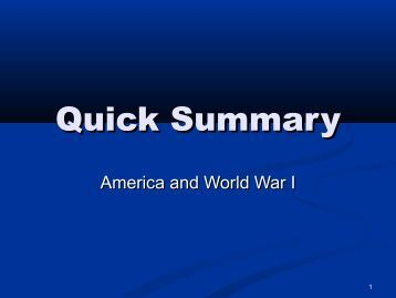 summary of world war one Beginning with the assassination of archduke franz ferdinand, dr annika  mombauer explores the opposing debates about the origins of world war one.