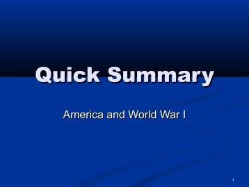 World War I Quick Summary