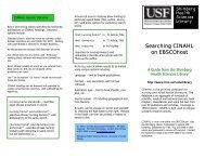 Searching CINAHL on EBSCOHost - University of South Florida