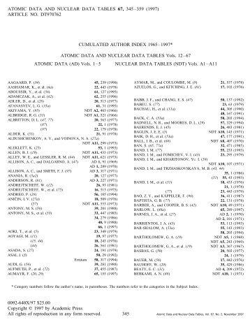 CUMULATED AUTHOR INDEX 1965-1997