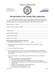 Interpretation of the Zoning Map Application - Town of Siler City