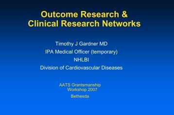 Outcomes Research and Clinical Research Networks