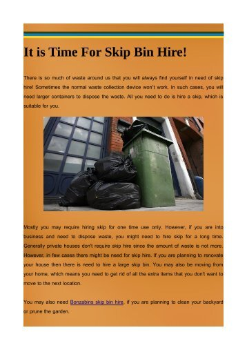 It is Time For Skip Bin Hire!