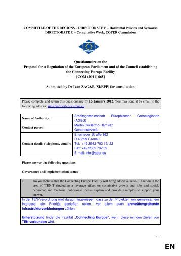 Questionnaire on the Proposal for a Regulation of the ... - Europa
