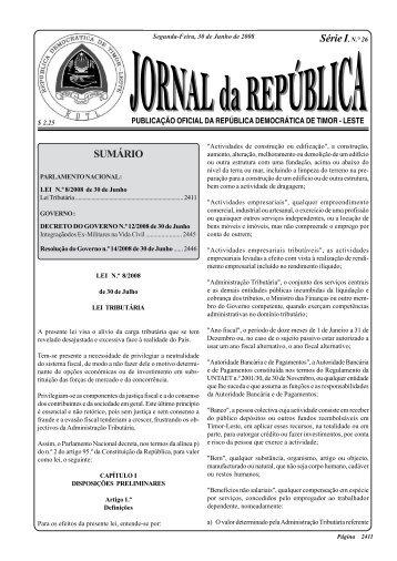 Lei Tributaria - Governo de Timor-Leste