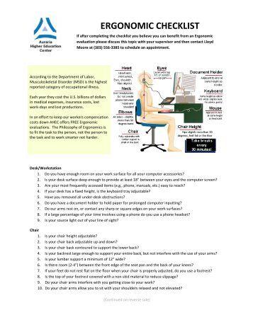 Workstation Ergonomic Evaluation Checklist