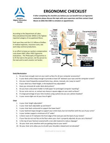 Computer workstation ergonomic self assessment checklist for Workstation assessment template