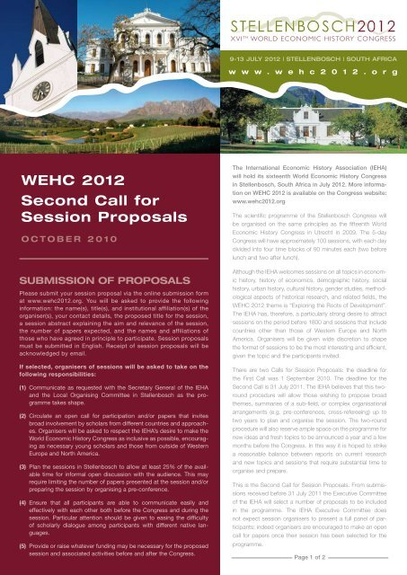 WEHC 2012 Second Call for Session Proposals - The XVIth World ...