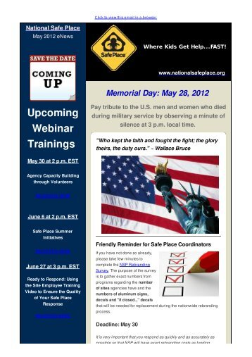 Your Monthly Dose of NSP News - May 2012 - National Safe Place