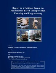 Report on a National Forum on Performance-Based Transportation ...