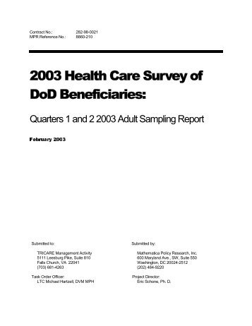2003 Adult Sample Report - Tricare