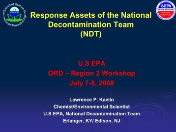 Response Assets of the National Decontamination Team (NDT)