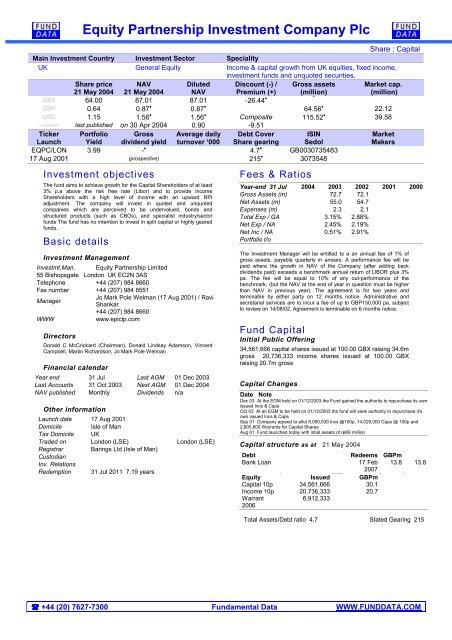 Equity partnership investment company plc mohammad ezayah snasco investments