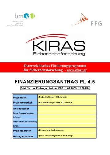 FINANZIERUNGSANTRAG PL 4.5 - KIRAS Sicherheitsforschung