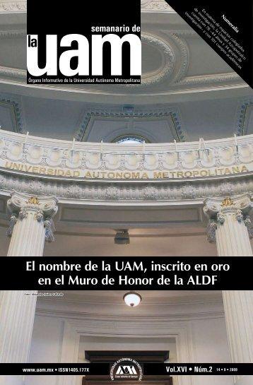 El nombre de la UAM, inscrito en oro en el Muro de Honor de la ALDF