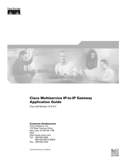 Cisco Multiservice IP-to-IP Gateway Application Guide - Free Books