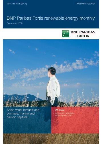 BNP Paribas Fortis renewable energy monthly - Virtual Metals