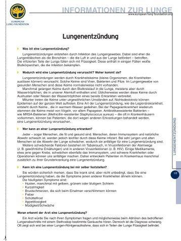 European Respiratory Society: Fachinformation Lungenentzündung